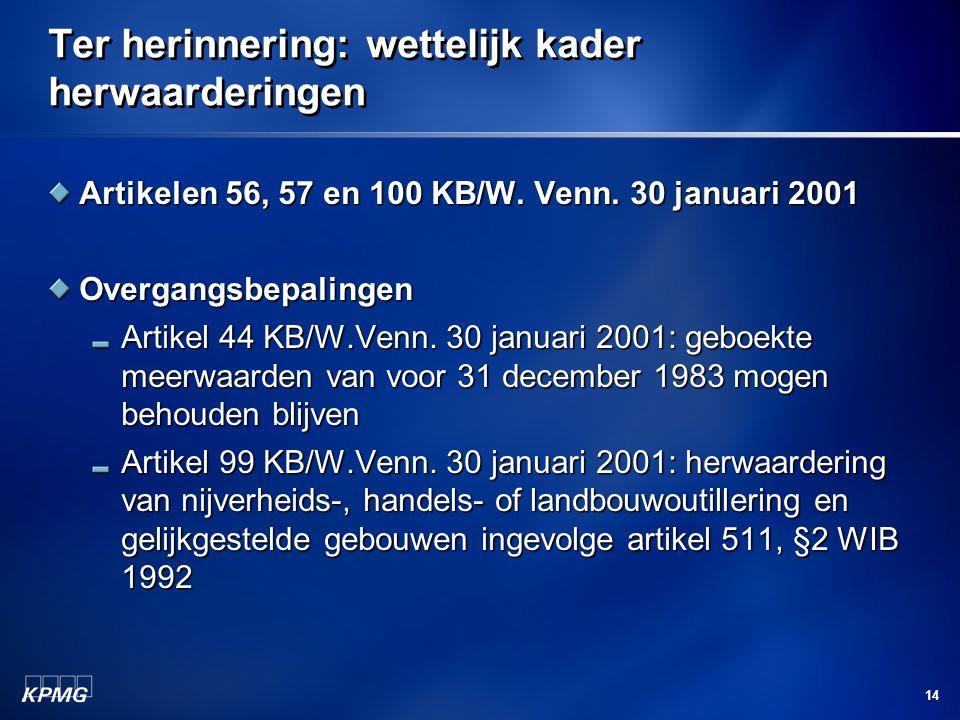 14 Ter herinnering: wettelijk kader herwaarderingen Artikelen 56, 57 en 100 KB/W. Venn. 30 januari 2001 Overgangsbepalingen Artikel 44 KB/W.Venn. 30 j