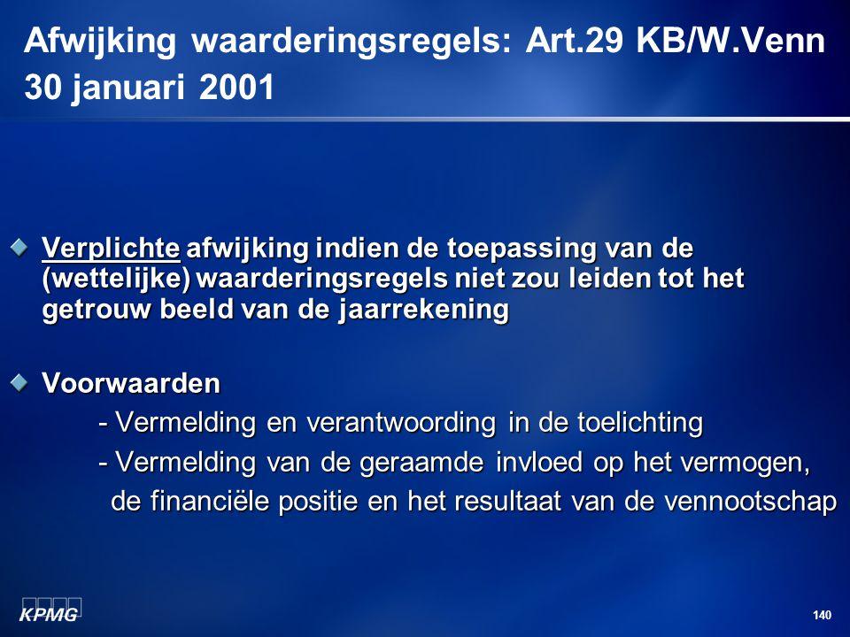 140 Afwijking waarderingsregels: Art.29 KB/W.Venn 30 januari 2001 Verplichte afwijking indien de toepassing van de (wettelijke) waarderingsregels niet