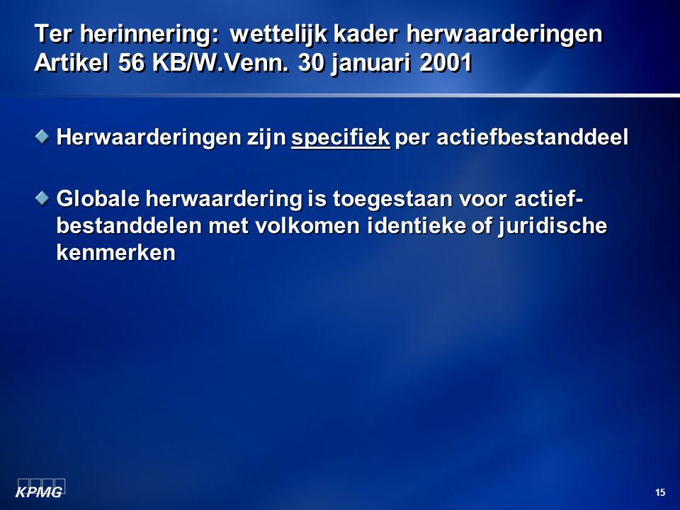 15 Ter herinnering: wettelijk kader herwaarderingen Artikel 56 KB/W.Venn. 30 januari 2001 Herwaarderingen zijn specifiek per actiefbestanddeel Globale