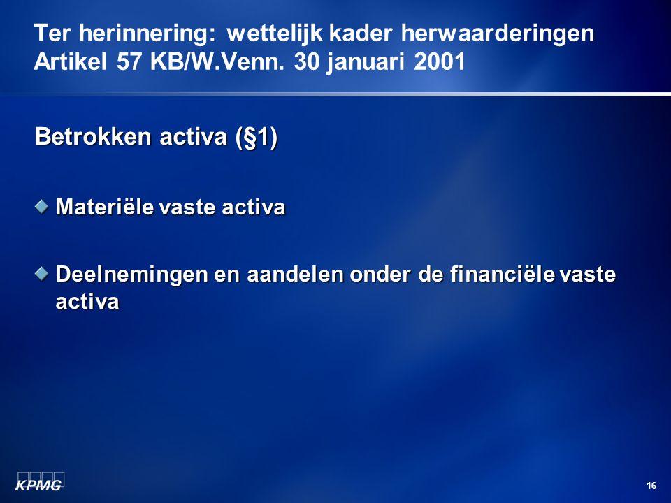 16 Betrokken activa (§1) Materiële vaste activa Deelnemingen en aandelen onder de financiële vaste activa Ter herinnering: wettelijk kader herwaarderi