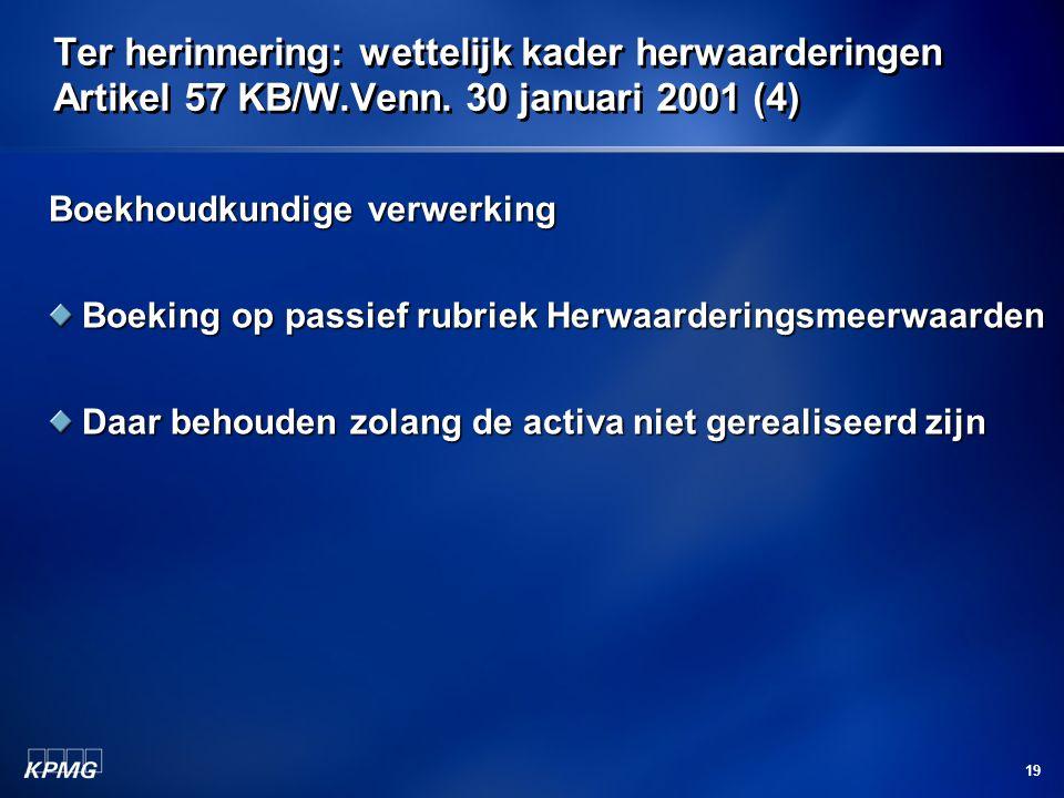 19 Ter herinnering: wettelijk kader herwaarderingen Artikel 57 KB/W.Venn. 30 januari 2001 (4) Boekhoudkundige verwerking Boeking op passief rubriek He