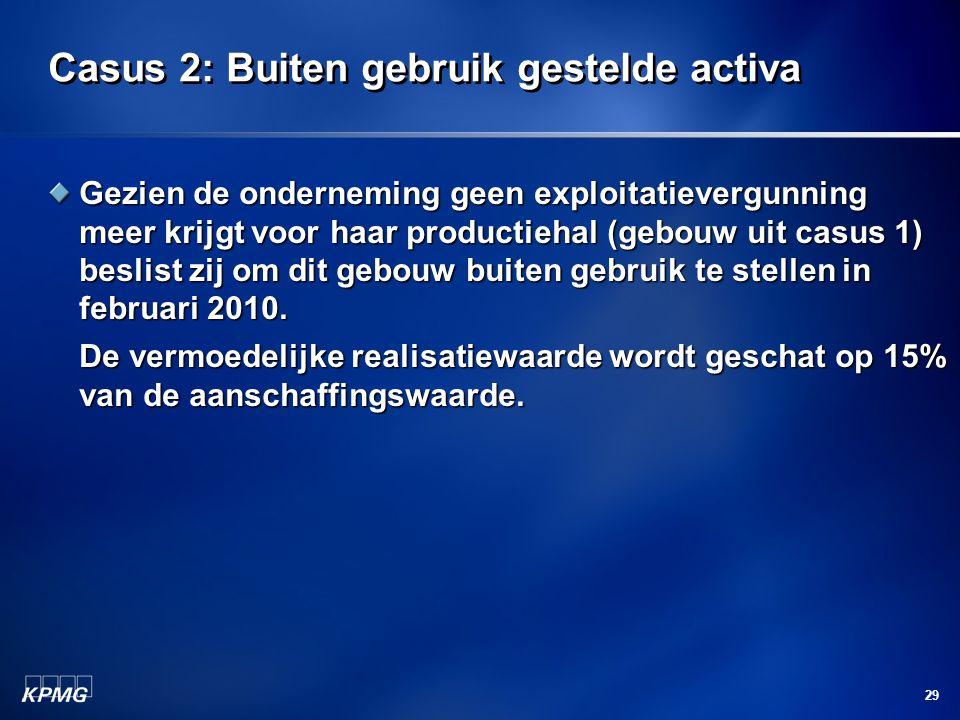 29 Casus 2: Buiten gebruik gestelde activa Gezien de onderneming geen exploitatievergunning meer krijgt voor haar productiehal (gebouw uit casus 1) be