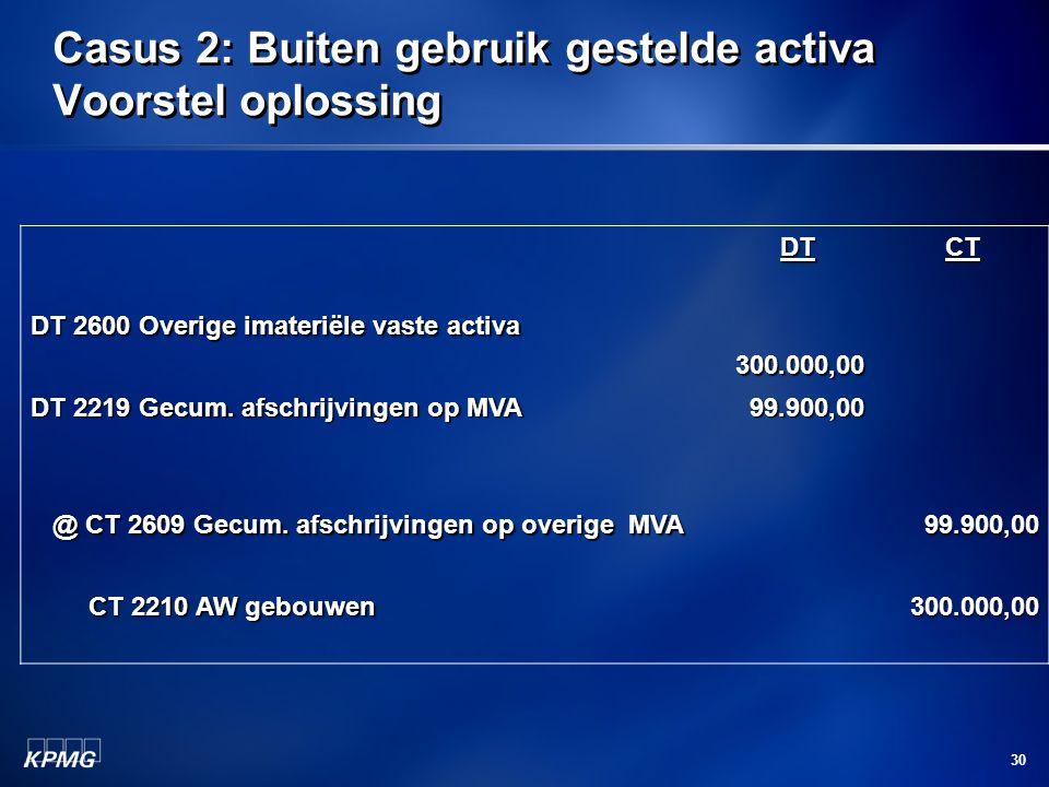 30 Casus 2: Buiten gebruik gestelde activa Voorstel oplossing DT 2600 Overige imateriële vaste activa DT300.000,00CT DT 2219 Gecum. afschrijvingen op