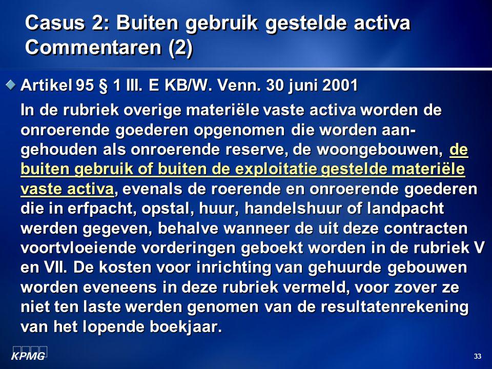 33 Casus 2: Buiten gebruik gestelde activa Commentaren (2) Artikel 95 § 1 III. E KB/W. Venn. 30 juni 2001 In de rubriek overige materiële vaste activa