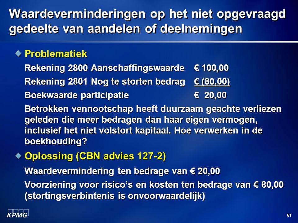 61 Waardeverminderingen op het niet opgevraagd gedeelte van aandelen of deelnemingen Problematiek Rekening 2800 Aanschaffingswaarde€ 100,00 Rekening 2