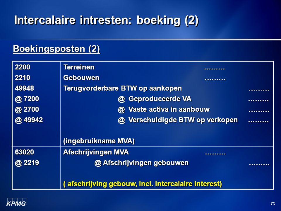 73 Intercalaire intresten: boeking (2) Boekingsposten (2) 2200221049948 @ 7200 @ 2700 @ 49942 Terreinen ……… Gebouwen ……… Terugvorderbare BTW op aankop