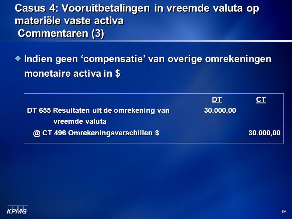 79 Casus 4: Vooruitbetalingen in vreemde valuta op materiële vaste activa Commentaren (3) Indien geen 'compensatie' van overige omrekeningen monetaire