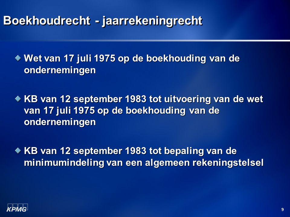 9 Boekhoudrecht - jaarrekeningrecht Wet van 17 juli 1975 op de boekhouding van de ondernemingen KB van 12 september 1983 tot uitvoering van de wet van