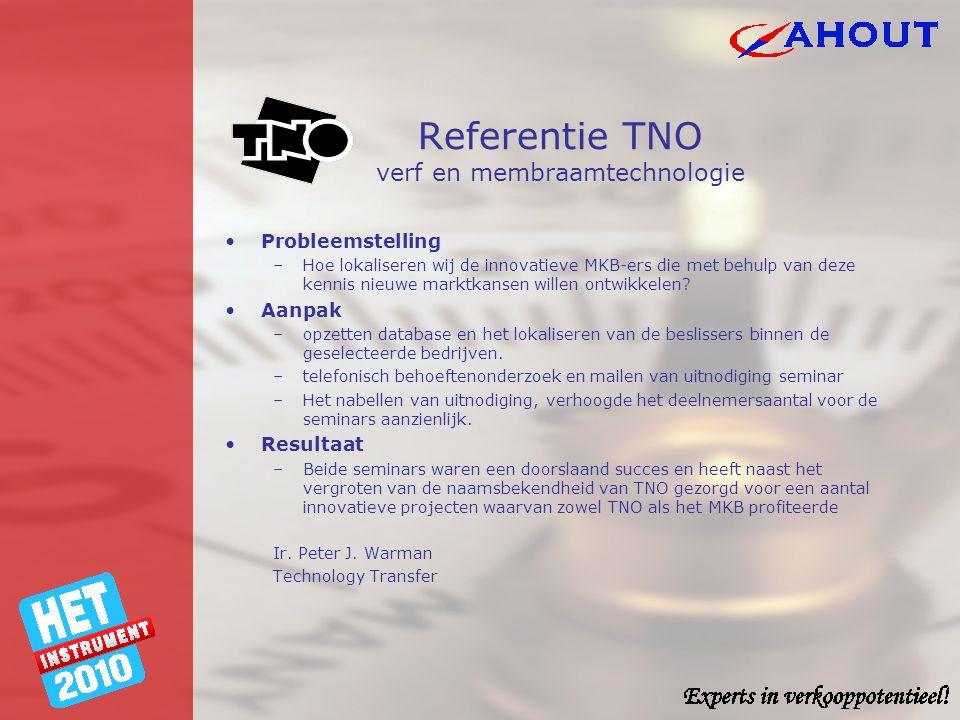 Referentie TNO verf en membraamtechnologie •Probleemstelling –Hoe lokaliseren wij de innovatieve MKB-ers die met behulp van deze kennis nieuwe marktka