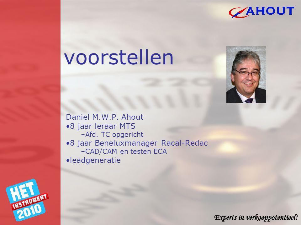 voorstellen Daniel M.W.P. Ahout •8 jaar leraar MTS –Afd. TC opgericht •8 jaar Beneluxmanager Racal-Redac –CAD/CAM en testen ECA •leadgeneratie
