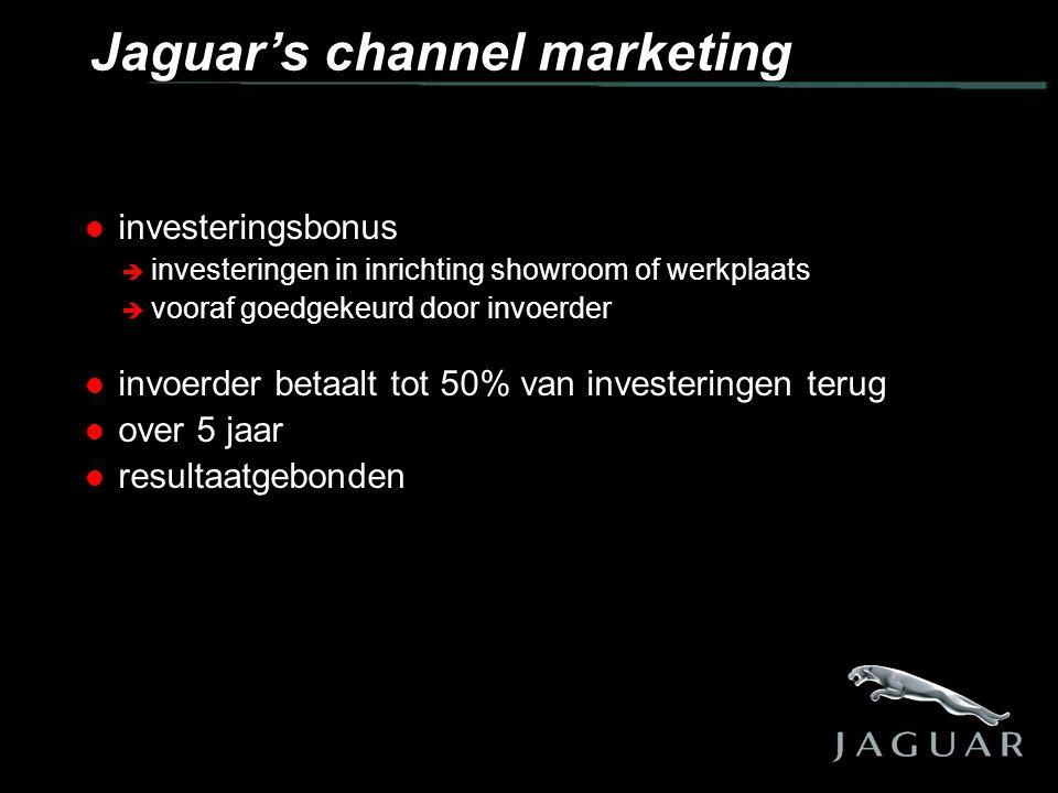  investeringsbonus  investeringen in inrichting showroom of werkplaats  vooraf goedgekeurd door invoerder  invoerder betaalt tot 50% van investeringen terug  over 5 jaar  resultaatgebonden Jaguar's channel marketing