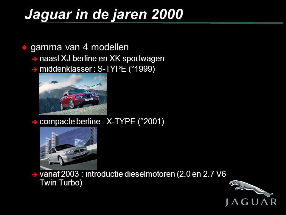  gamma van 4 modellen  naast XJ berline en XK sportwagen  middenklasser : S-TYPE (°1999)  compacte berline : X-TYPE (°2001)  vanaf 2003 : introductie dieselmotoren (2.0 en 2.7 V6 Twin Turbo) Jaguar in de jaren 2000
