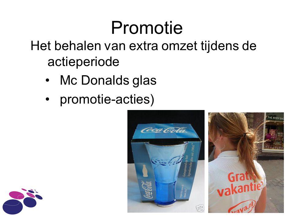 Promotie Het behalen van extra omzet tijdens de actieperiode •Mc Donalds glas •promotie-acties)