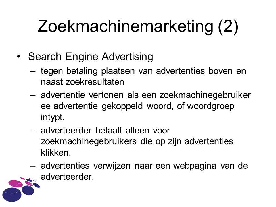 Zoekmachinemarketing (2) •Search Engine Advertising –tegen betaling plaatsen van advertenties boven en naast zoekresultaten –advertentie vertonen als een zoekmachinegebruiker ee advertentie gekoppeld woord, of woordgroep intypt.