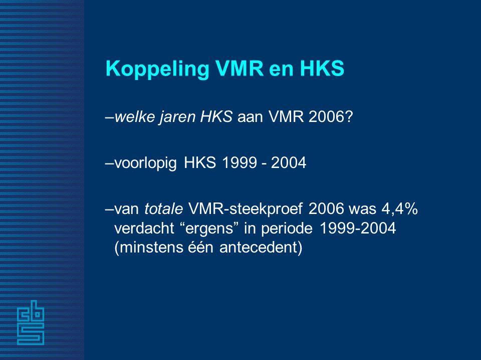 """Koppeling VMR en HKS –welke jaren HKS aan VMR 2006? –voorlopig HKS 1999 - 2004 –van totale VMR-steekproef 2006 was 4,4% verdacht """"ergens"""" in periode 1"""