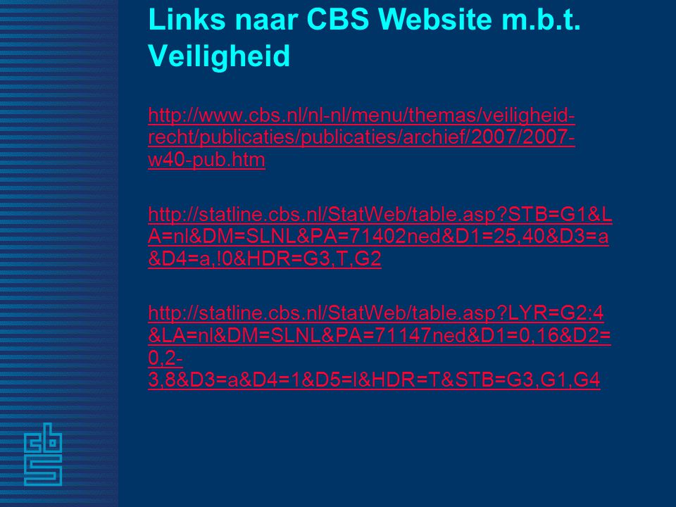 Links naar CBS Website m.b.t.