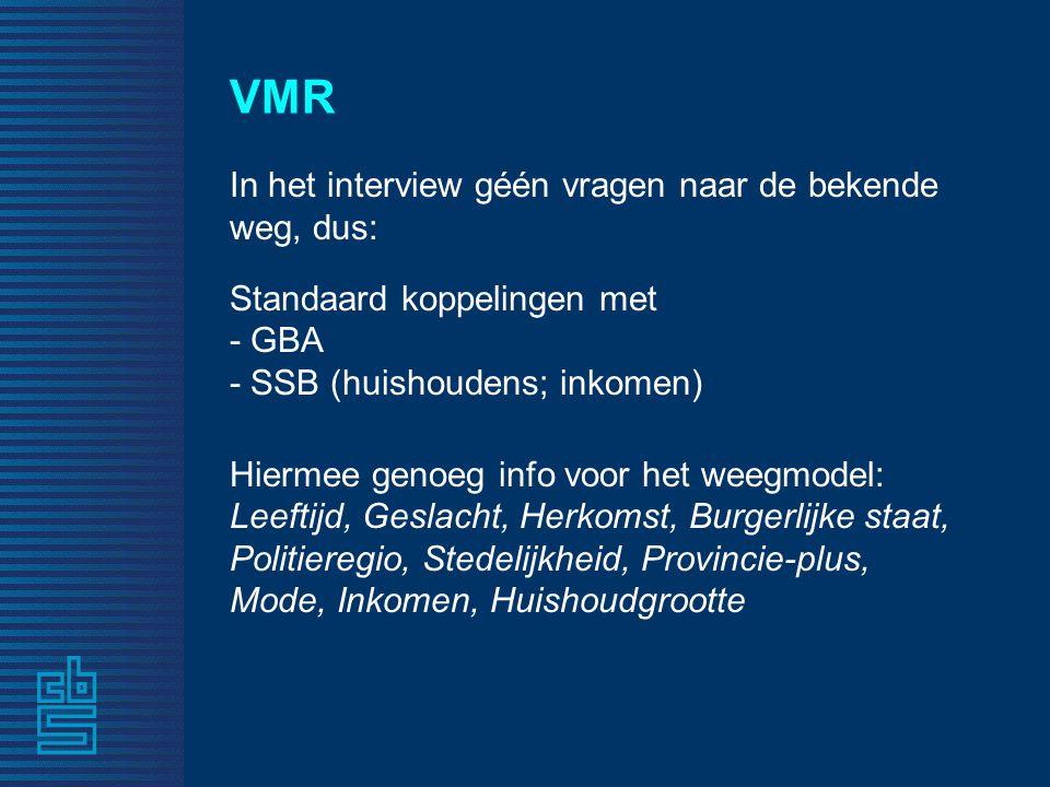 VMR In het interview géén vragen naar de bekende weg, dus: Standaard koppelingen met - GBA - SSB (huishoudens; inkomen) Hiermee genoeg info voor het w