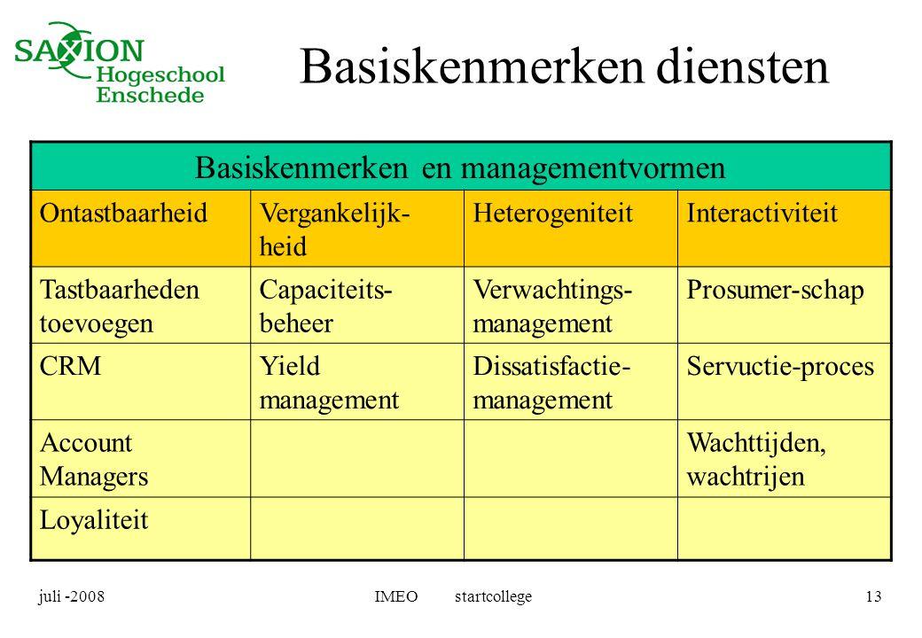 juli -2008IMEO startcollege13 Basiskenmerken diensten Basiskenmerken en managementvormen OntastbaarheidVergankelijk- heid HeterogeniteitInteractivitei