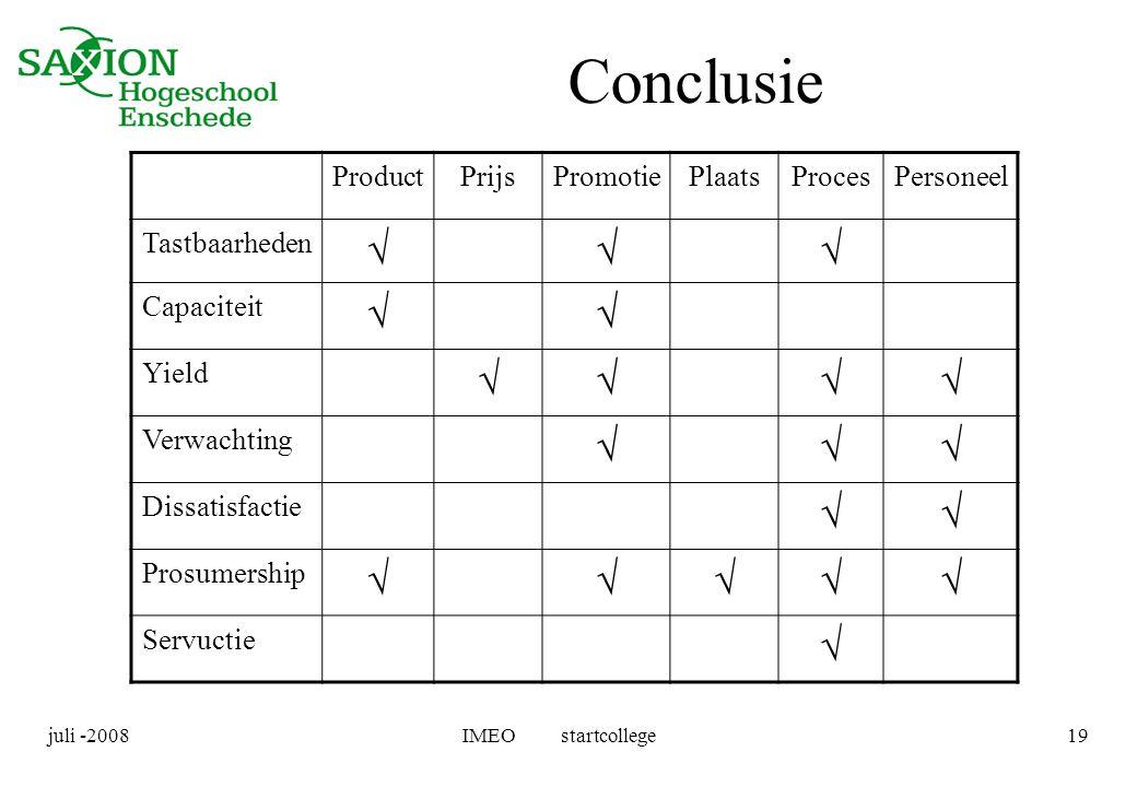 juli -2008IMEO startcollege19 Conclusie ProductPrijsPromotiePlaatsProcesPersoneel Tastbaarheden  Capaciteit  Yield  Verwachting  Dissatisf