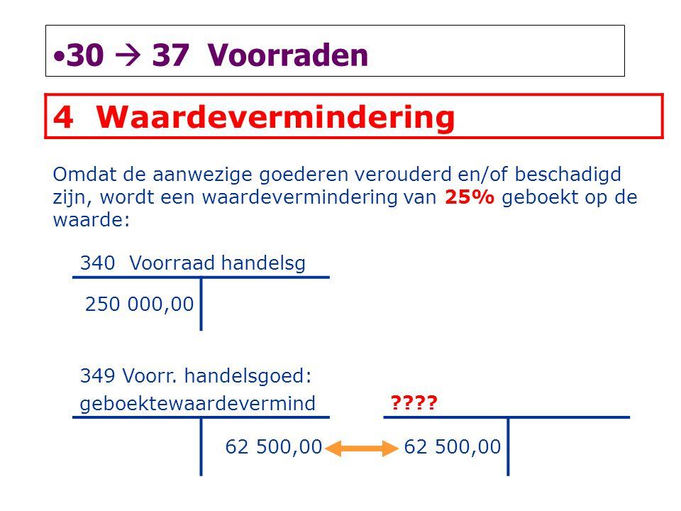 •30  37 Voorraden 4 Waardevermindering Omdat de aanwezige goederen verouderd en/of beschadigd zijn, wordt een waardevermindering van 25% geboekt op d