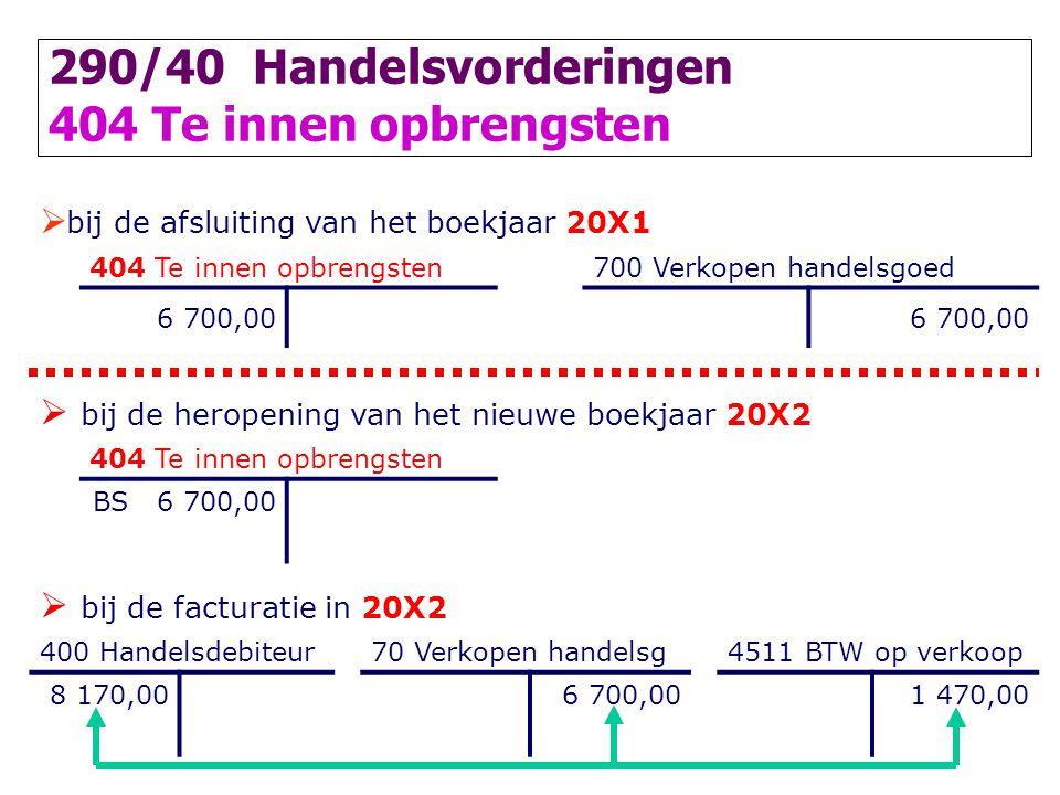  bij de afsluiting van het boekjaar 20X1 404 Te innen opbrengsten700 Verkopen handelsgoed 6 700,00  bij de heropening van het nieuwe boekjaar 20X2 4