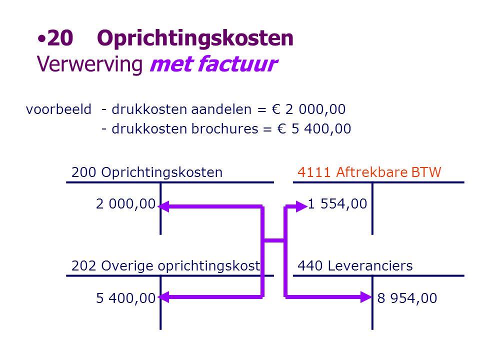 voorbeeld- drukkosten aandelen = € 2 000,00 - drukkosten brochures = € 5 400,00 200 Oprichtingskosten4111 Aftrekbare BTW 2 000,001 554,00 202 Overige