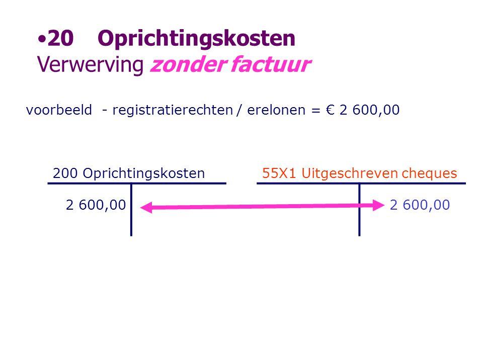 voorbeeld- registratierechten / erelonen = € 2 600,00 200 Oprichtingskosten55X1 Uitgeschreven cheques 2 600,00 •20Oprichtingskosten Verwerving zonder