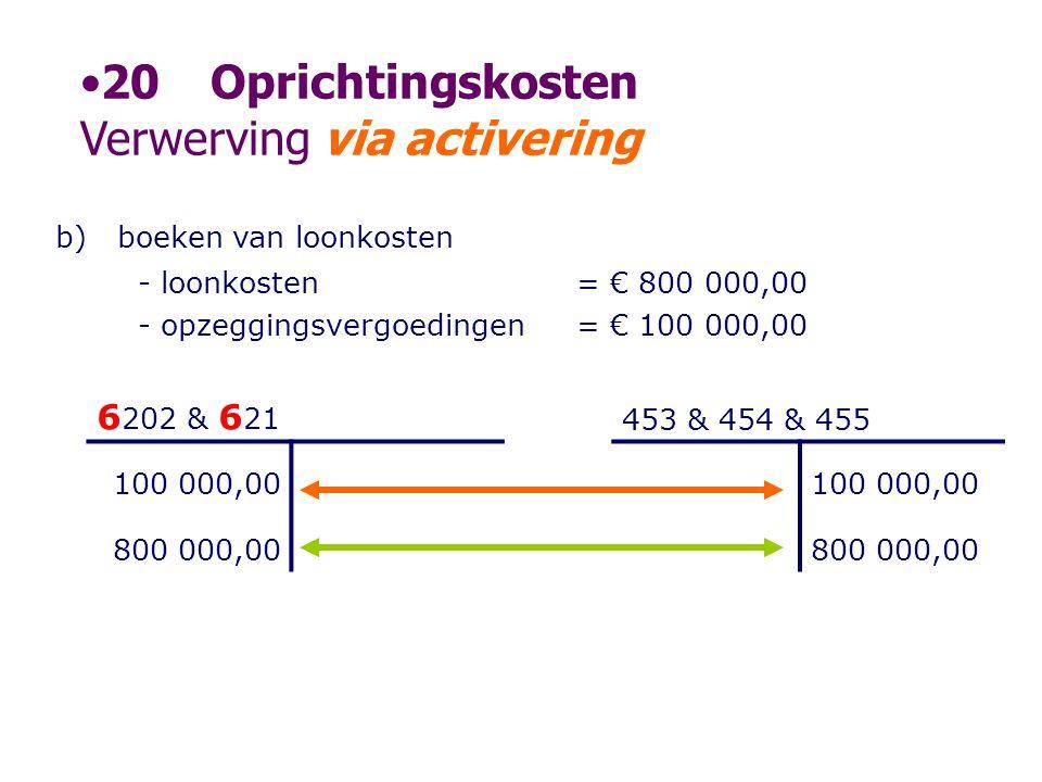 b)boeken van loonkosten - loonkosten - opzeggingsvergoedingen = € 800 000,00 = € 100 000,00 6 202 & 6 21 453 & 454 & 455 100 000,00 800 000,00 •20Opri