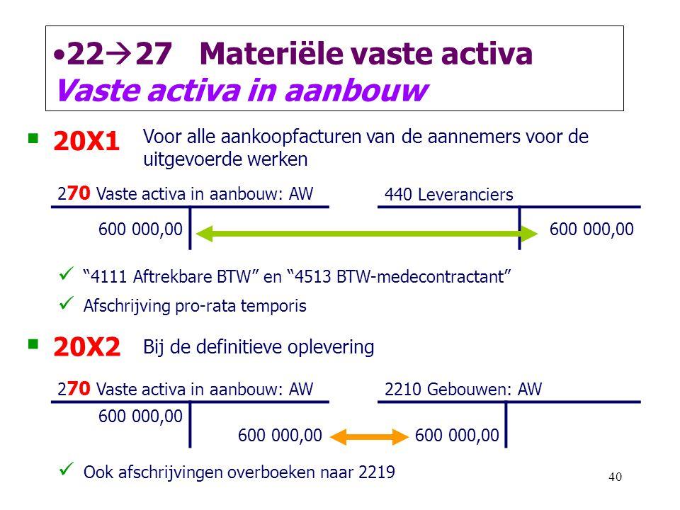 40 •22  27 Materiële vaste activa Vaste activa in aanbouw  20X1 Voor alle aankoopfacturen van de aannemers voor de uitgevoerde werken 2 70 Vaste act