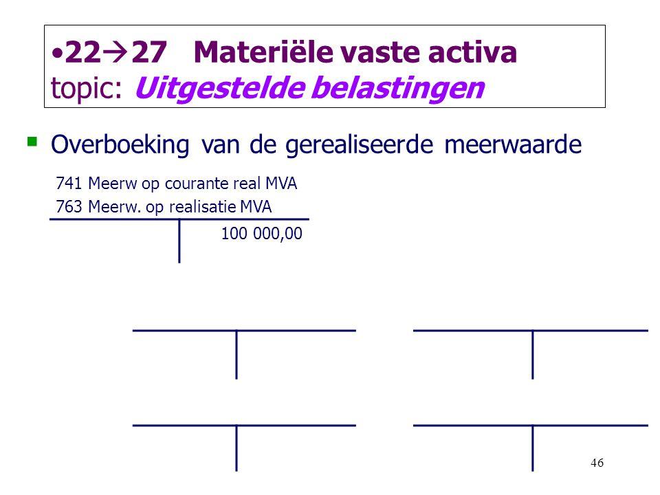 46 •22  27 Materiële vaste activa topic: Uitgestelde belastingen  Overboeking van de gerealiseerde meerwaarde 741 Meerw op courante real MVA 763 Mee