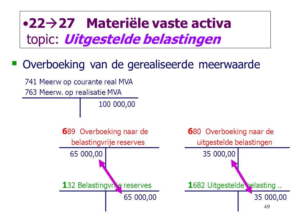 49 •22  27 Materiële vaste activa topic: Uitgestelde belastingen  Overboeking van de gerealiseerde meerwaarde 741 Meerw op courante real MVA 763 Mee