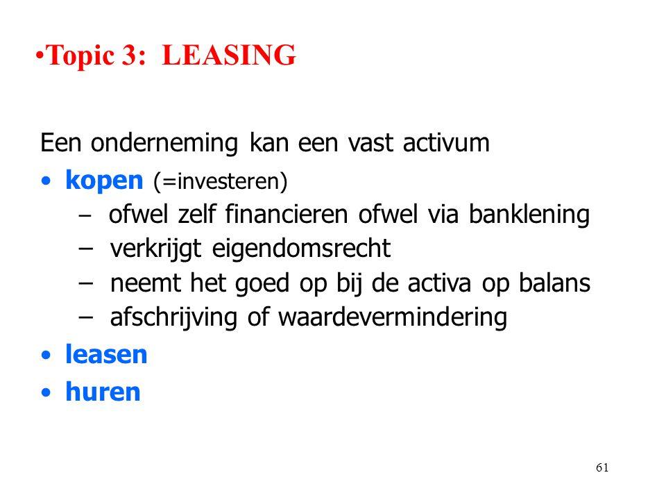 61 Een onderneming kan een vast activum •kopen (=investeren) – ofwel zelf financieren ofwel via banklening – verkrijgt eigendomsrecht – neemt het goed