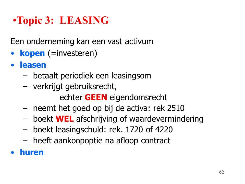 62 Een onderneming kan een vast activum •kopen (=investeren) •leasen – betaalt periodiek een leasingsom – verkrijgt gebruiksrecht, echter GEEN eigendo