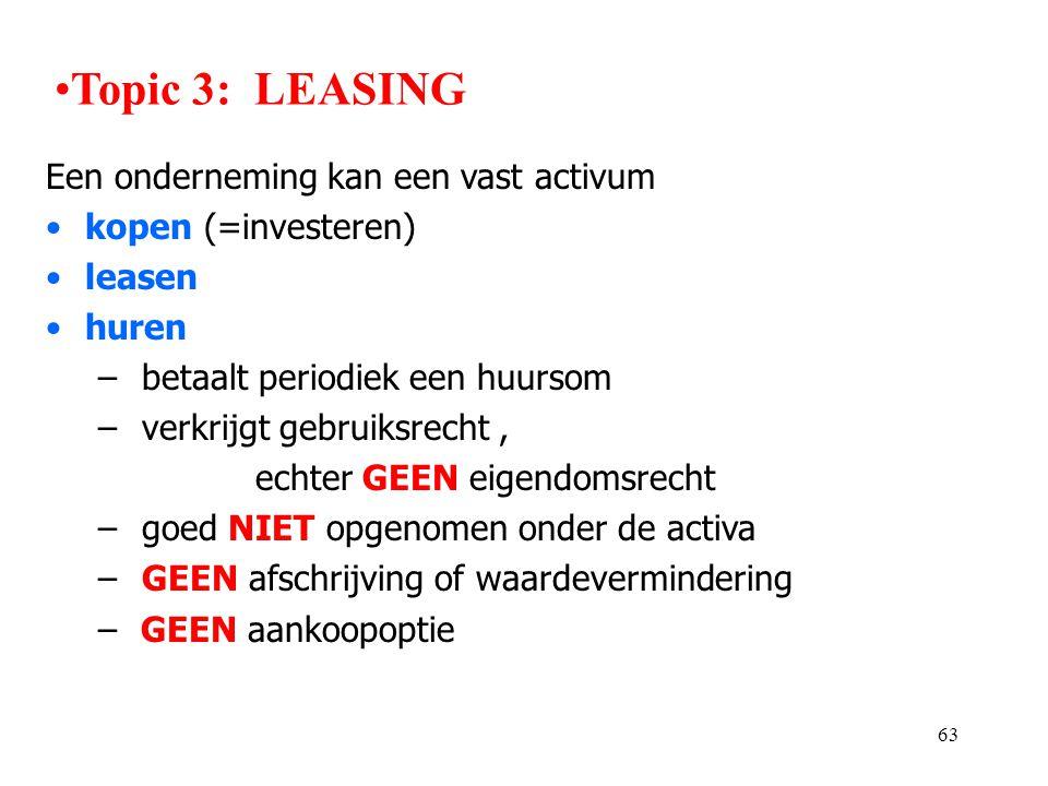 63 Een onderneming kan een vast activum •kopen (=investeren) •leasen •huren – betaalt periodiek een huursom – verkrijgt gebruiksrecht, echter GEEN eig