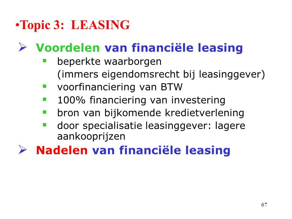 67  Voordelen van financiële leasing  beperkte waarborgen (immers eigendomsrecht bij leasinggever)  voorfinanciering van BTW  100% financiering va