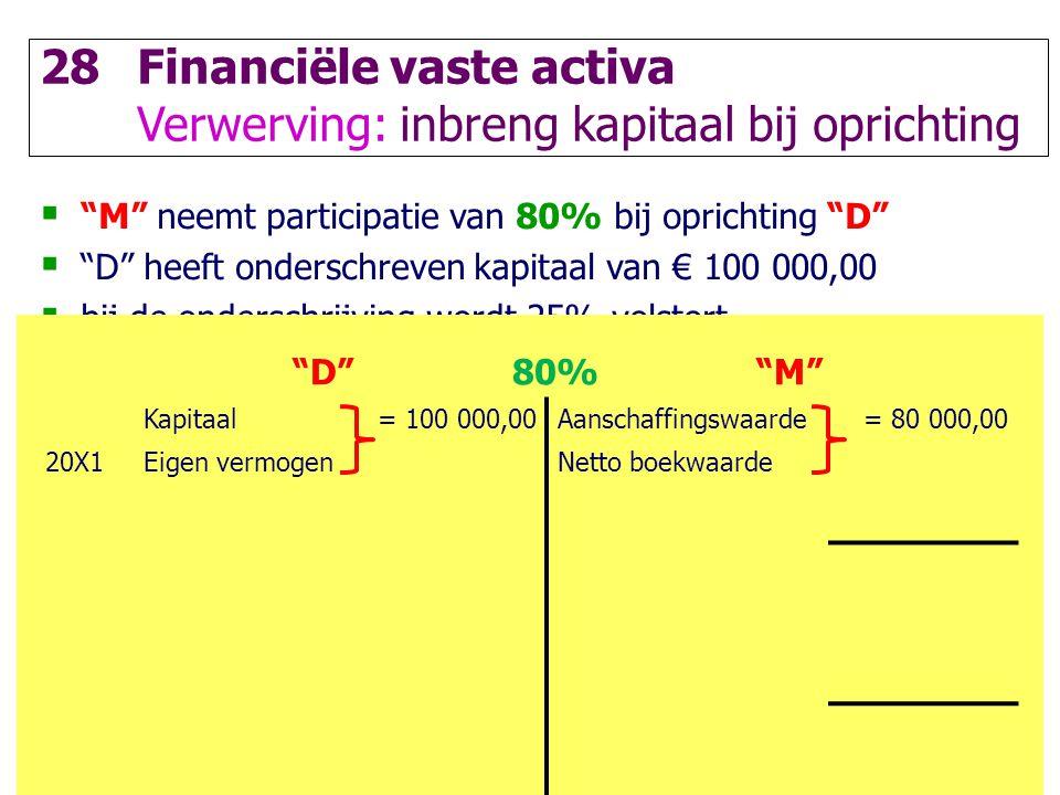 """81 28Financiële vaste activa Verwerving: inbreng kapitaal bij oprichting  """"M"""" neemt participatie van 80% bij oprichting """"D""""  """"D"""" heeft onderschreven"""