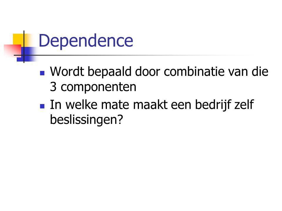 Dependence  Wordt bepaald door combinatie van die 3 componenten  In welke mate maakt een bedrijf zelf beslissingen