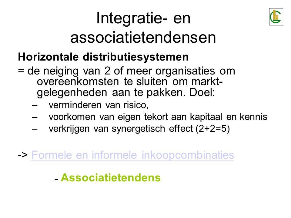 Integratie- en associatietendensen Horizontale distributiesystemen = de neiging van 2 of meer organisaties om overeenkomsten te sluiten om markt- gele