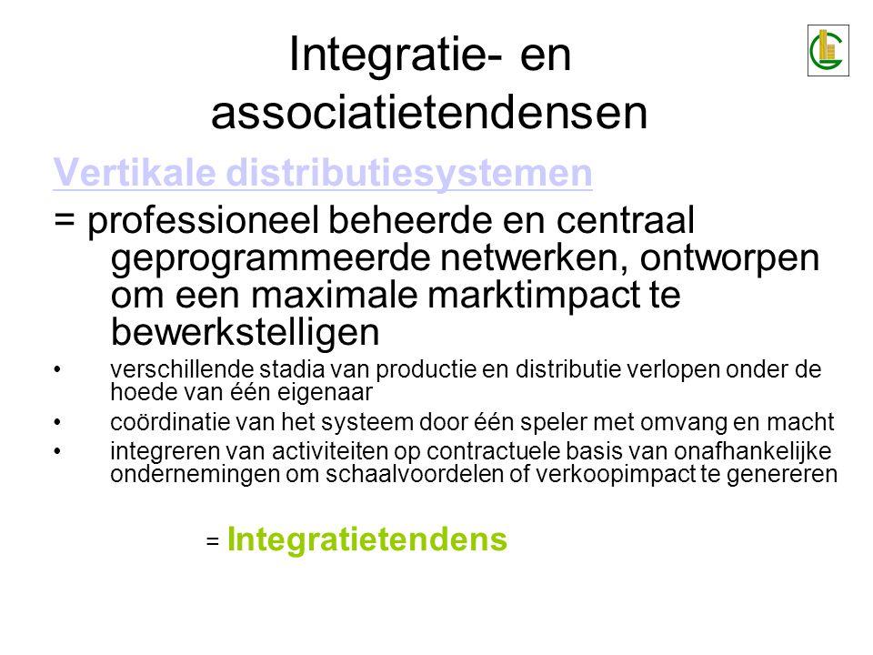 Integratie- en associatietendensen Vertikale distributiesystemen = professioneel beheerde en centraal geprogrammeerde netwerken, ontworpen om een maxi
