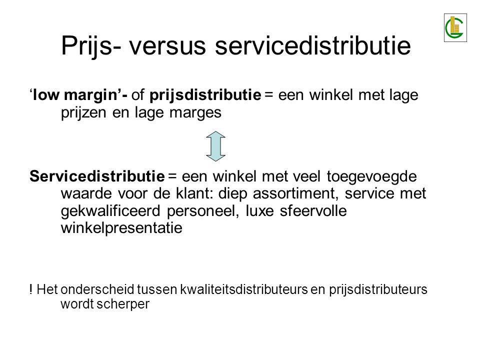Prijs- versus servicedistributie 'low margin'- of prijsdistributie = een winkel met lage prijzen en lage marges Servicedistributie = een winkel met ve