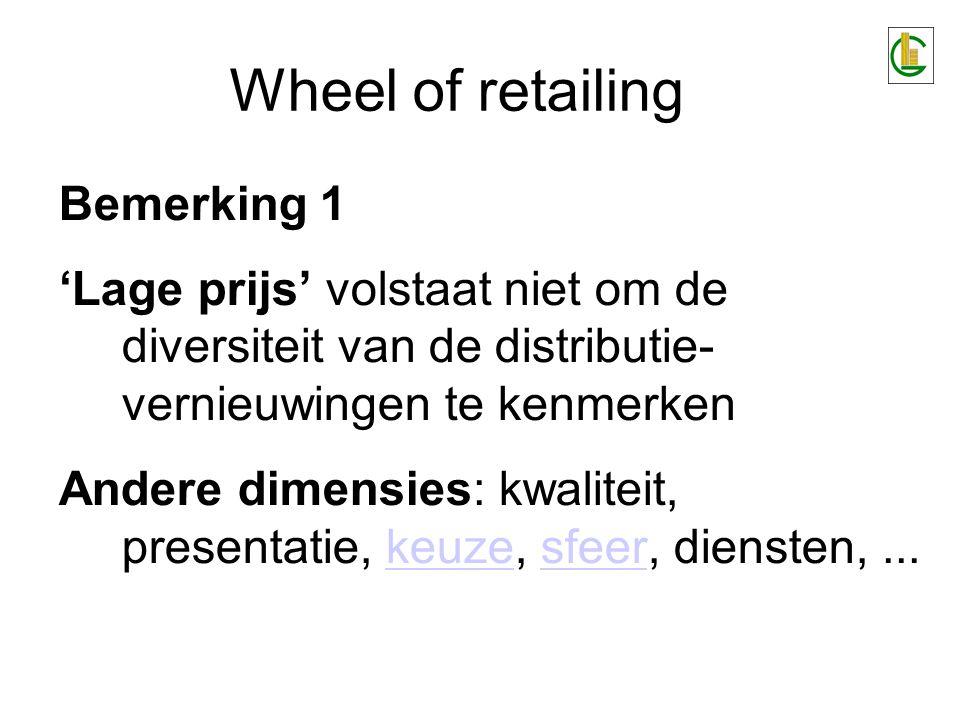 Wheel of retailing Bemerking 1 'Lage prijs' volstaat niet om de diversiteit van de distributie- vernieuwingen te kenmerken Andere dimensies: kwaliteit