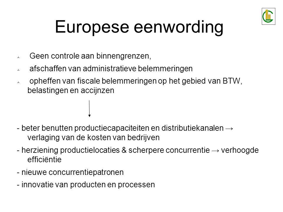 Europese eenwording  Geen controle aan binnengrenzen,  afschaffen van administratieve belemmeringen  opheffen van fiscale belemmeringen op het gebi