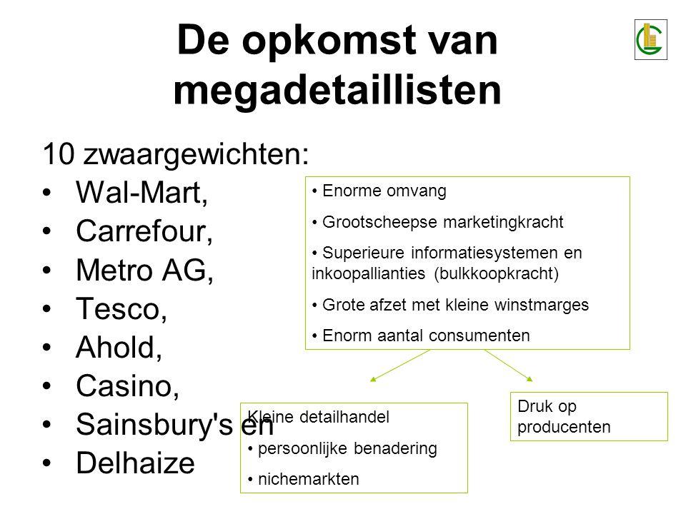 De opkomst van megadetaillisten 10 zwaargewichten: •Wal-Mart, •Carrefour, •Metro AG, •Tesco, •Ahold, •Casino, •Sainsbury's en •Delhaize • Enorme omvan