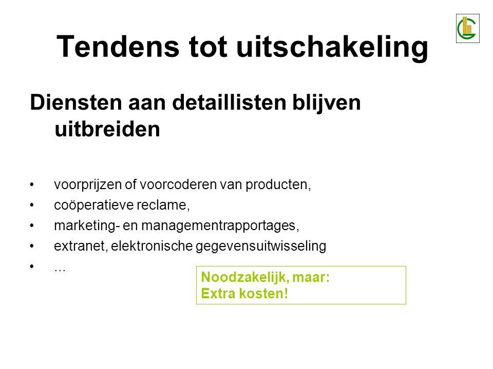 Tendens tot uitschakeling Diensten aan detaillisten blijven uitbreiden •voorprijzen of voorcoderen van producten, •coöperatieve reclame, •marketing- e