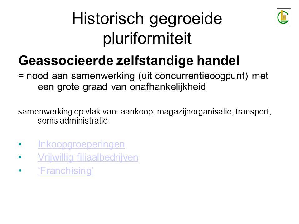 Historisch gegroeide pluriformiteit Geassocieerde zelfstandige handel = nood aan samenwerking (uit concurrentieoogpunt) met een grote graad van onafha