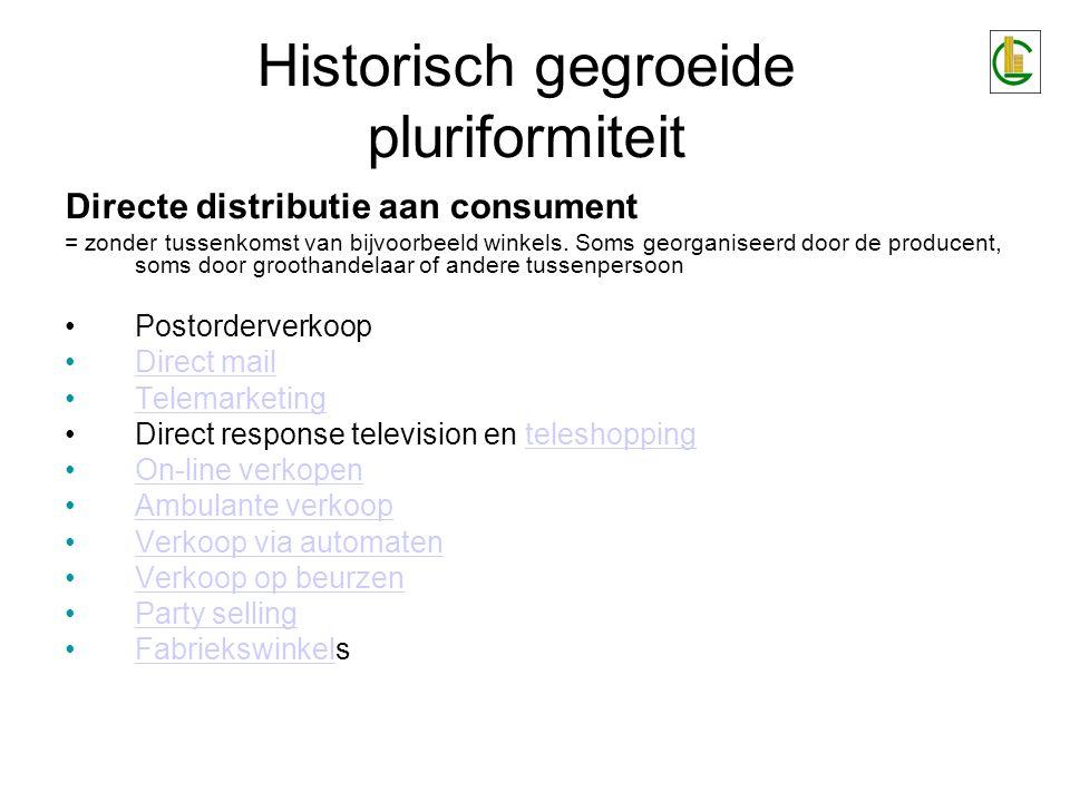 Historisch gegroeide pluriformiteit Directe distributie aan consument = zonder tussenkomst van bijvoorbeeld winkels. Soms georganiseerd door de produc