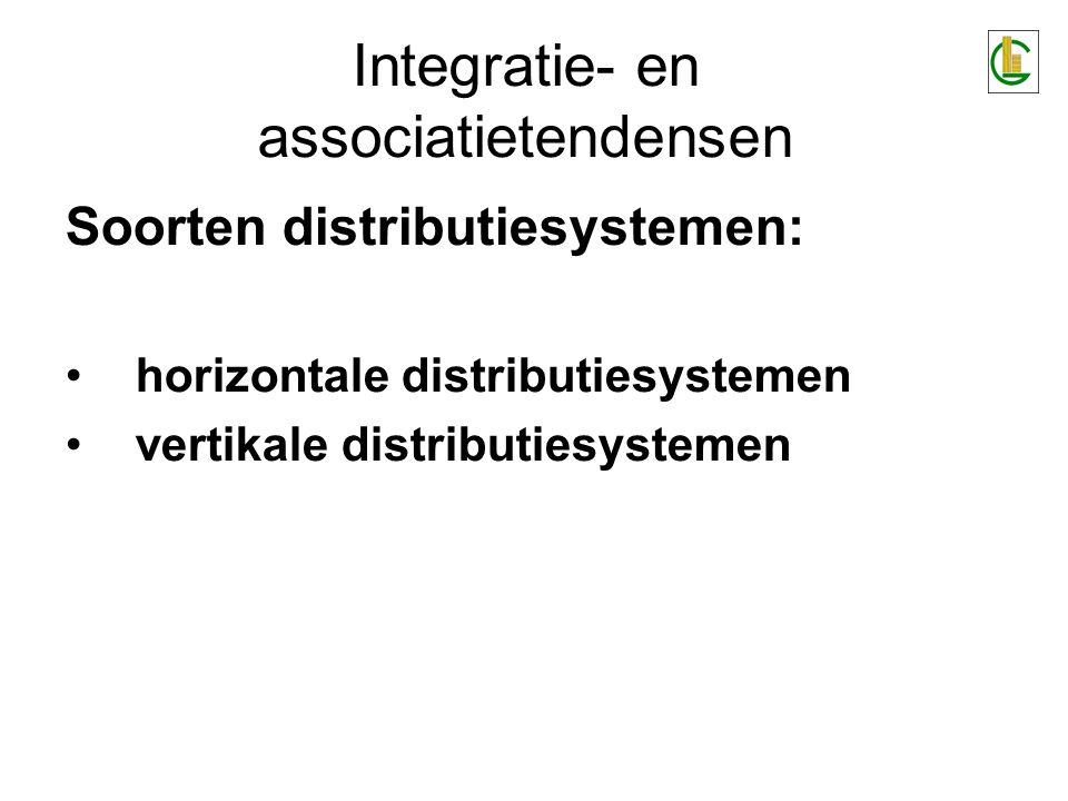 Integratie- en associatietendensen Soorten distributiesystemen: •horizontale distributiesystemen •vertikale distributiesystemen