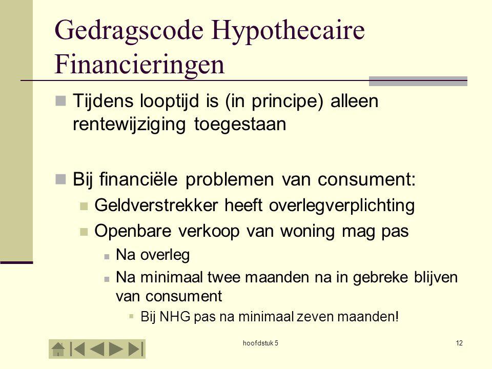 hoofdstuk 512 Gedragscode Hypothecaire Financieringen  Tijdens looptijd is (in principe) alleen rentewijziging toegestaan  Bij financiële problemen