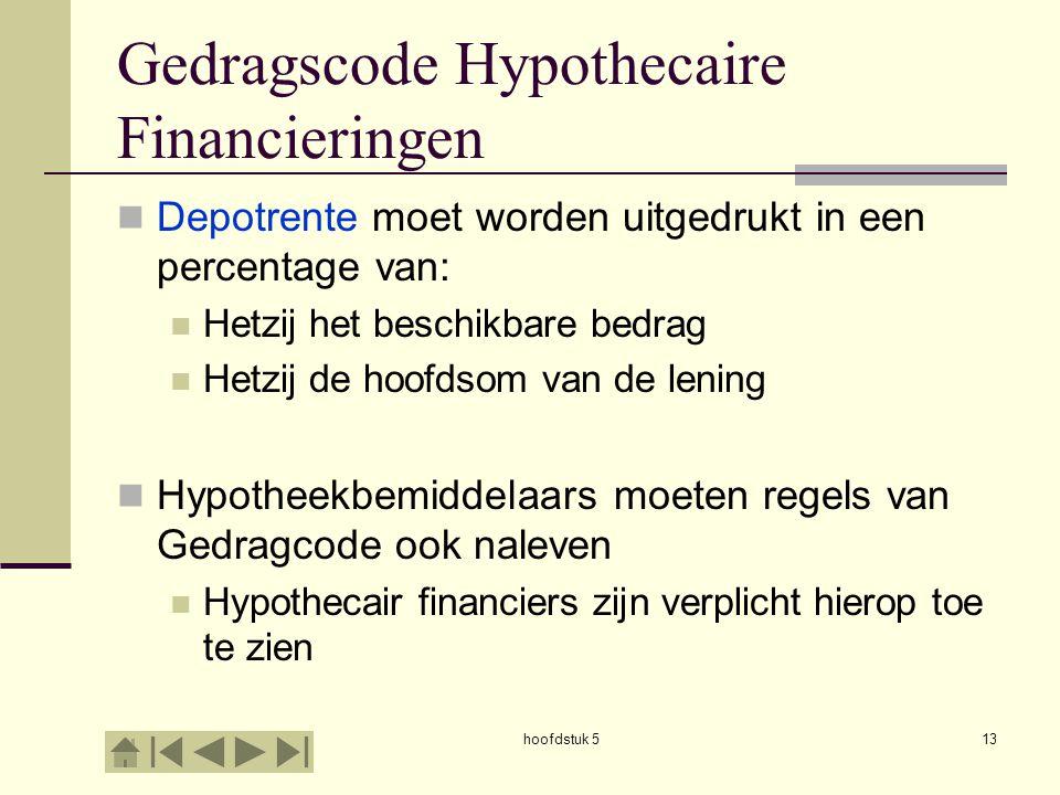hoofdstuk 513 Gedragscode Hypothecaire Financieringen  Depotrente moet worden uitgedrukt in een percentage van:  Hetzij het beschikbare bedrag  Het