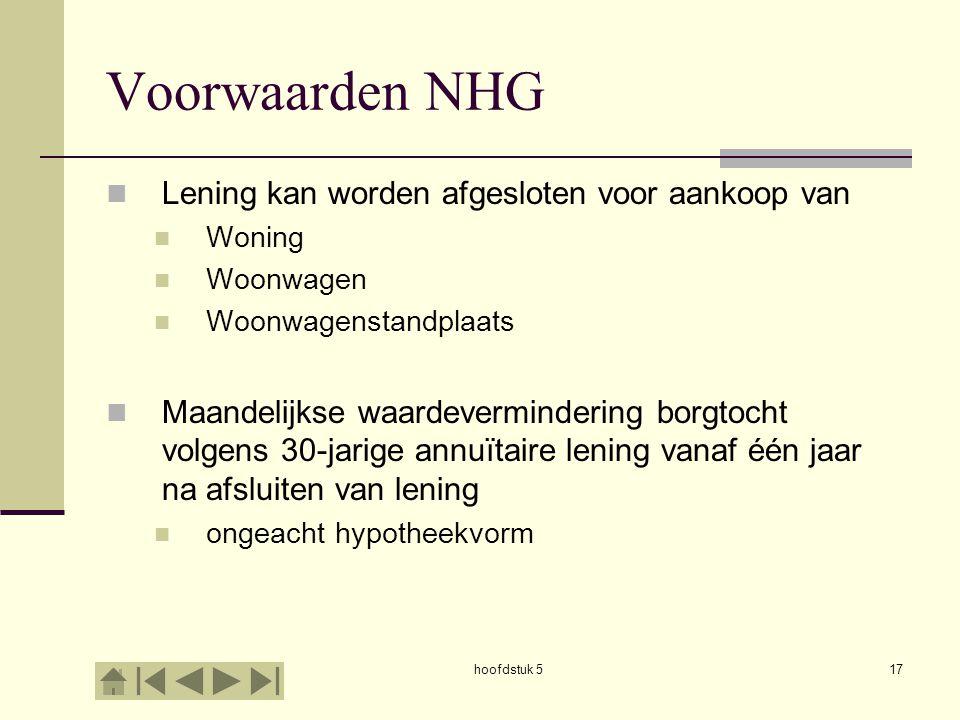 hoofdstuk 517 Voorwaarden NHG  Lening kan worden afgesloten voor aankoop van  Woning  Woonwagen  Woonwagenstandplaats  Maandelijkse waardevermind